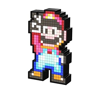PDP 878-041-EU-SMWM  Pixel Pals Nintendo Super World Mario Collectible Lighted Figure, Blue/Red, 8.8 x 11.2 x 15.9 cm