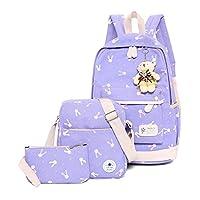 WSLCN Canvas Backpacks Set Girls School Bags Zipped Daypack Travel Satchel Shoulder Messenger Bag Kids Shoulder Bag Rucksack Laptop Casual Shoulder Bag Pencil Case Rabbit 3pcs B-Purple