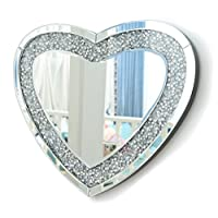RICHTOP Wall Mirror With Glitter Crushed diamonds Silver Wall Mounted Mirrors For Living Room