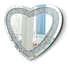 Idea Regalo - RICHTOP Specchio da Parete Tripla a Forma di Cuore con Glitter Finti Diamanti con Grande Argento Specchio da Parete per Camera da Letto