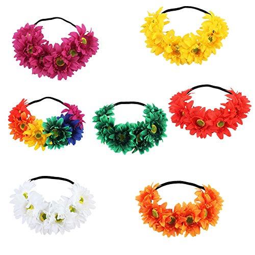 MKHDD Mädchen-Brautregenbogen-Sonnenblumen-Blumen-Kronen-Stolz-Partei-Regenbogen-Gänseblümchen-Stirnband Blumenkronen-Kopfbedeckung-Hochzeitsfest-Haarband
