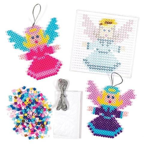 Kit de décoration ange en perles que les enfants pourront confectionner au fer à repasser pour Noël et suspendre – Objets de loisirs créatifs de Noël que les enfants pourront confectionner (Lot de 6).
