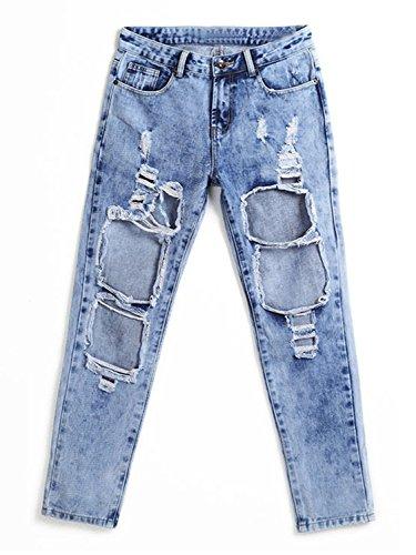 ... Choies Damen Jeans Hosen Denim Baggyjeans Boyfriend Cut-Outs Jeanshose  mit Löcher und Zerreißen Jeans ... add197a17c
