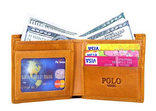 VIDENG POLO RFID Blockierung Bifold Wallet Echtes verrücktes Pferd Leder Geldbörsen zum Männer Jahrgang Legerer Stil (Braun-wc8) Gelb-wc1