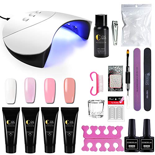 Saint-Acior schnell Nagelverlängerung Gel Extension Polish Nagel Aufbau Gel Set mit UV/LED Nagellampe Quick Building Gel+Silp Solution+Werkzeug Set für Gelnägel - Gel Uv Set