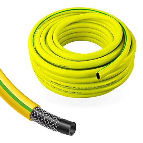 Stabilo-Sanitaer Profi Gartenschlauch Durchmesser: 13mm (1/2 Zoll) Länge: 50m | 3-lagiger Wasserschlauch Gelb | Qualitätsschlauch | Allzweckschlauch