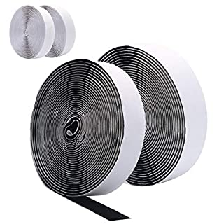 10M(4 Rolls 5M) Self Adhesive Hook and Loop Strip Tape by DigHealth, Double Sided Sticky Back Tape, Fabric Fastening Tapes, 20mm Wide Hook and Loop Fastener (2 Rolls in Black and 2 Rolls in White)