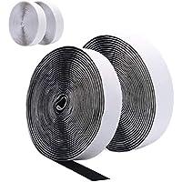 10M Velcro Adhesivo, DigHealth Velcro Adhesivo Doble Cara Extra Fuerte, Gancho y Cinta de Velcro de 20 mm de Ancho Autoadhesivo, Cinta velcro adhesiva de 2 Rollos en Negro y 2 Rollos en Blanco