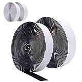 DigHealth 10M (4 Stück 5M) Kettband Extra Stark Doppelseitig Klebende Klettband Weiß und Schwarz, 20mm Breit Hakenband, Haftkraft Selbstklebend Flauschband