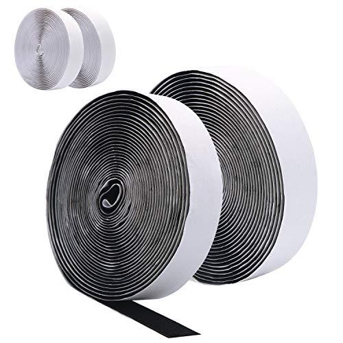 DigHealth 10M (4 Stück 5M) Kettband Extra Stark, Doppelseitig Klebende, Klettband Weiß und Schwarz, 20mm Breit Hakenband, Haftkraft Selbstklebend Flauschband (Verlängerungskabel, Klebeband Flach,)