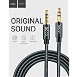 CABLESETC HOCO UPA04 AUX Cable with Built in Microphone Hotline 3.5mm Male to Male in Line Car Stereo AUX + Mic Audio Cable Wire 1m