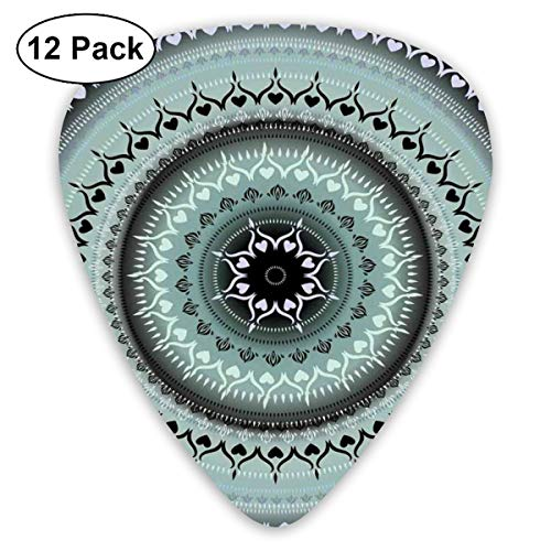 Guitar Picks12pcs Plectrum (0.46mm-0.96mm), Vintage Yantra Icon With Ethnic Lines Path Of Soul Inner Peace Energy Design,For Your Guitar or Ukulele