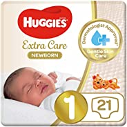 Huggies New Born Diapers, Size 1, Carry Pack, upto 5 kg, 21 Diapers