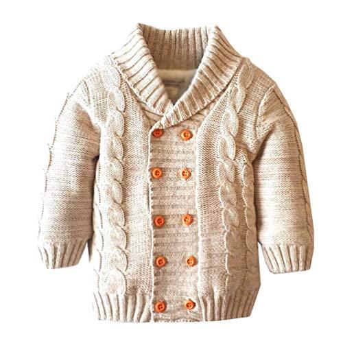 Kuncg Babykleidung Neugeborene Zweireiher Winter Revers Strickjacke Fleece Gefüttert Sweater Schneeanzüge (#1 Khaki,120) -