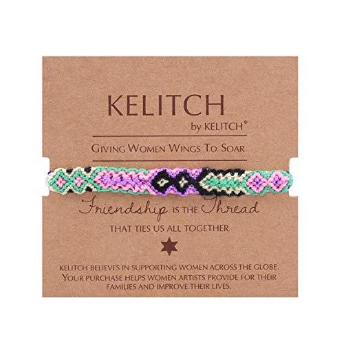 KELITCH Hand gewebt Seil Armbänder Baumwollfaden geflochtene Freundschaft Armbänder Modeschmuck (Bunte X)