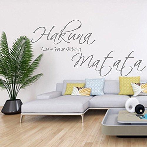 Wandschnörkel ® Wandtattoo HM~AA134 ~HAKUNA MATATA Alles in bester Ordnung ~Wohnzimmer Flur Schlafzimmer Wand Aufkleber Spruch Wanddekoration Farbwahl/Größenwahl