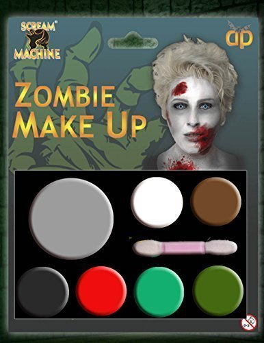 HALLOWEEN MAKE-UP MAKE-UP GESICHTSFARBE ZOMBIE VAMPIR HEXE CLOWN DEVIL FAMILIEN SET ROT WEIß SCHWARZ - Zombie Make-up, One size