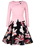 Vessos Femme Robe de Business Cocktail Vintage Floral Soirée A-line Manches Longues - Rose - Taille S(EU Size: 36-38)
