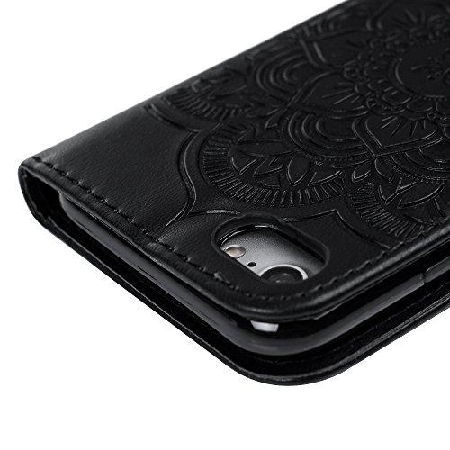"""Mavis's Diary Étui iPhone 7 (4.7"""") Coque en Cuir Imprimé Dreamcatcher Housse Portefeuille Étui à Rabat Flip Cover Phone Case+Stylet+Chiffon noir"""