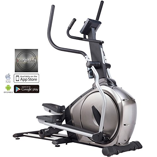 AsVIVA E3 Pro Elliptical Trainer with App and Bluetooth Compatible, Magnetic Brake and Multifunction Computer and LCD Display, Silver