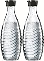 SodaStream DuoPack Glaskaraffe für Crystal und Penguin Wassersprudler (spülmaschinenfest mit fest schließendem Deckel), 2 x 0,6L