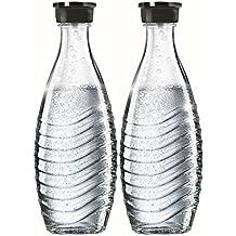 SodaStream, 2 Bottiglie in vetro, Trasparenti, 9.5 x 9.5 x 28.5 cm, Compatibili con Gasatori Crystal e Penguin