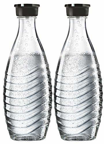 Schraubverschluss Glas-wasser-flaschen (SodaStream DuoPack Glaskaraffe für Crystal und Penguin Wassersprudler (spülmaschinenfest mit fest schließendem Deckel), 2 x 0,6L)