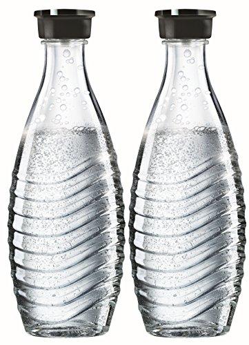 flaschen fuer sodastream SodaStream DuoPack Glaskaraffe für Crystal und Penguin Wassersprudler (spülmaschinenfest mit fest schließendem Deckel), 2 x 0,6L