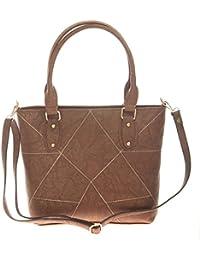 Aliado Faux Leather Solid Coffee Brown Zipper Closure Tote Bag For Women For Women