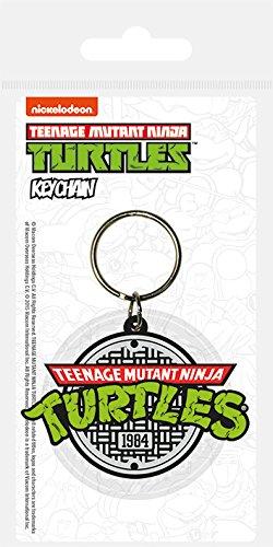 Pyramid International Turtles Retro Logo Gummi Schlüsselanhänger, Mehrfarbig, 4,5x 6cm (Turtles Retro Ninja)