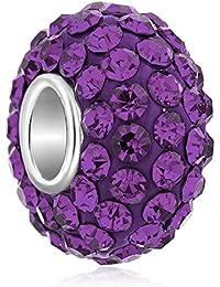 Colgante de piedra natalicia de espaciador de cristal, mostacillas con estilo, compatibles con pulseras Pandora, de UniqueenJewellery