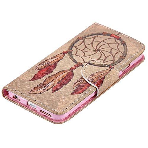 Ooboom® iPhone 5SE Coque PU Cuir Flip Housse Étui Cover Case Wallet Portefeuille Fonction Support avec Porte-cartes pour iPhone 5SE - Chat Attrapeur de Rêves Marron