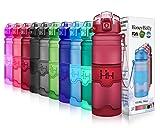 HoneyHolly Sport Trinkflasche - 25oz / 700ml - BPA frei dicht und umweltfreundlich - Für Gym, Laufen, Yoga, Camping, Outdoor, Männer, Frauen & Kinder - One Handed Open & Tritan Trinkflaschen aus Kunststoff mit Filter (0.7 Liter, Matte Dunkelrot)