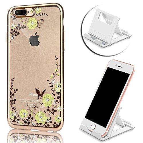 iPhone 7 Plus Hülle, Vandot Plating Glänzend TPU Case Cover für iPhone 7 Plus Schutzhülle Transparent Luxus Diamant Rhinestone Bling Muster Pattern Telefonkasten Abdeckung Silikon Weich Dünnen Handy S Color 14