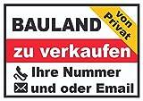 HB_Druck Bauland zu Verkaufen von privat Schild A4 Rückseite Selbstklebend