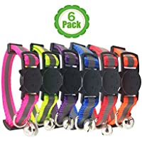 Bemix Pets ⚡Reflektierendes Katzenhalsband mit Glocke, 6er Set, Robust, Nylon, Coole Halsbänder für Hauskatzen, kleine Hunde