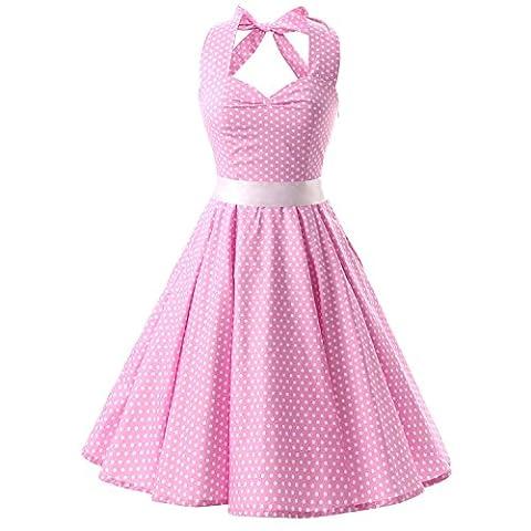 iHaipi - Robe de bal Polka Vintage pin-up à 'Audrey Hepburn' 50's 60's Rockabilly Halter,dos nu, à pois (03. Large, 007 Rose Fond Blanc Petits Points)