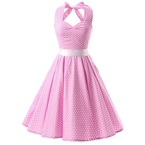 iHAIPI - Damen 50er Jahre Rockabilly Kleid Vintage Ärmelos Eine Vielzahl von Farben Tupfen und eine Vielzahl von Farbe Blumen Arten 20 (01. EU 36 (S), 007 Rosa Hintergrund Weiße Kleiner Punkte)