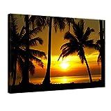 Kunstdruck - Sonnenuntergang in der Nähe des Äquators - Bild auf Leinwand - 80x60 cm 1 teilig - Leinwandbilder - Bilder als Leinwanddruck - Wandbild von Bilderdepot24 - Urlaub, Sonne & Meer - Südsee - Sonnenuntergang über dem Ozean