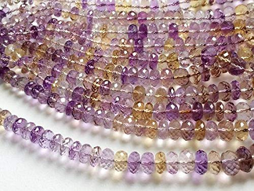 and Natural Ametrine Faceted Rondelle Beads, Ametrine Beads, Ametrine Necklace, 5-11mm, 16 Inch Code-HIGH-19499 ()