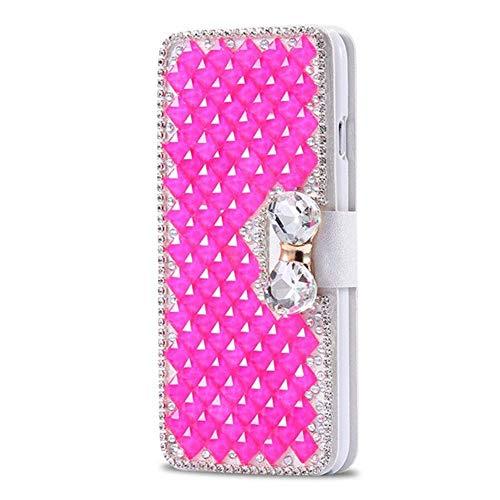 King phone Handyhülle kompatibel mit iPhone 5 iPhone 5S iPhone SE Glitzer Diamant Strass Bling Leder Hülle Flip Slim Case mit Kartensteckplätze Standfunktion Schutzhülle - Rosa (Bling Cases 5 Bow Iphone)