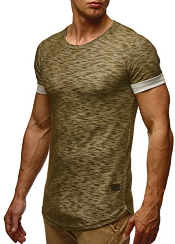 LEIF NELSON Herren Sommer T-Shirt Rundhals-Ausschnitt Slim Fit Baumwolle-Anteil | Moderner Männer T-Shirt Crew Neck Hoodie-Sweatshirt Kurzarm lang | LN6356 Khaki Large -