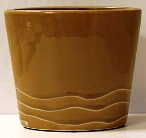 Keramik Blumenkübel, schmal, Braun