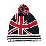 WITHMOONS Gorros de Punto Union Jack Star Stripes Flag Knitted Beanie Hat Pom Pom KM5580 (Red)