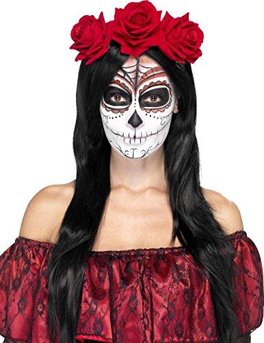 Rote Rosen Haarreif für (Kostüm Skull Red Halloween)