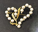 CCDZ Süßwasserperlen Herzförmig Brosche Mikro-Intarsien-Zirkon Brosche Halskette Mit Doppeltem Verwendungszweck Modische Accessoires Mantel Liebhaber Geschenk