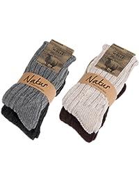 BRUBAKER Chaussettes tricotées en Cachemire - Lot de 4 Paires - 48% Laine de mouton et 40% Cachemire - Très épaisses et chaudes - Unisexe