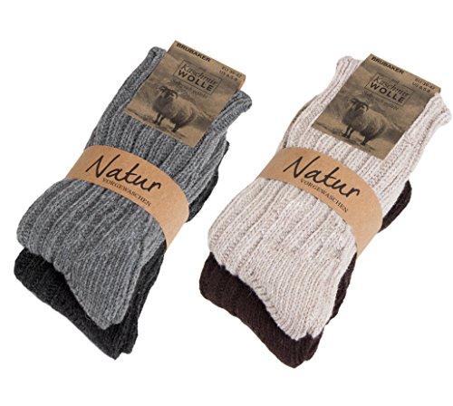 4 Paar Damen oder Herren warme BRUBAKER Kaschmir-Socken - Warme winterliche Grobstrick Freizeitsocken in hoher Qualität mit 48%Schafswolle und 40% Cashmere Anteil Gr. 35-38 (Damen-kaschmir-socken)
