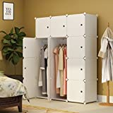 Koossy Expandable Clothes Closet Wardrobe Cupboards Armoire Storage Organizer with Door Stickers, Capacious & Sturdy 12 Cube White, 111 x 47 x 147 cm