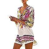 beautyjourney Copricostume Mare Donna Lungo Estate Pizzo - Abito Donna Lungo Elegante Vestiti Vestito Donna Estivo Lungo Costumi Bikini Costume Donna (Codice Medio, Rosa)